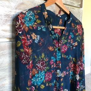 KUT Sheer Floral Button Down Blouse